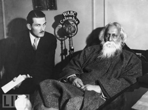 Chester Williams (left), Executive Secretary of the National Students Federation, interviewing Indian poet and philosopher Rabindranath Tagore
